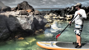 Paddle boarding in Galapagos' Floreana Island